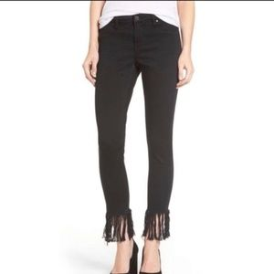 Blank NYC The Bond Black Fringe Skinny Jeans 26